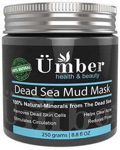 Dead Sea Mud Mask for Face and Body Treatment 100% Natural and Organic Skin Cleanser - Removes Dead Skin, Clear Acne, Reduce Pores & Wrinkles by Umber NYC  #Skincare #Beauty #Bodymud #FaceMask #Natural #Pore #Acne