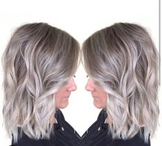 Love this silver blonde lob!