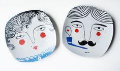 Handbemalte Teller zur Deko // Hand painted plate for decoration by NuriaDiaz via DaWanda.com