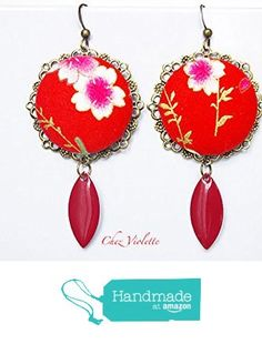 red chandelier earring - japanese earring - blossom earrings - fabric earring dangle - romantic jewelry for her - asian style jewelry - japan jewellery from CocoFlower http://www.amazon.com/dp/B016H7CC14/ref=hnd_sw_r_pi_dp_5Nahwb0FF0B1R #handmadeatamazon