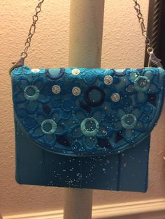 Turquoise sparkle embroidered purse pouch by leahssewingcreations. Explore more products on http://leahssewingcreations.etsy.com