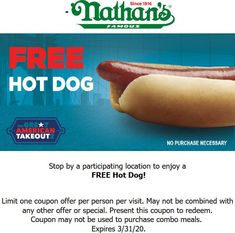 💰 Free hot dog today at Nathans Famous, no purchase necessary Nathans Famous coupons and promo codes from The Coupons App. Calendar Reminder, Couponing 101, Cosmetic Treatments, Restaurant Offers, Shopping Coupons, Free Dogs, Gas Station, Plastic Surgery, Hot Dogs