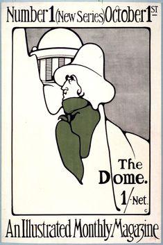 Le trait et la #couleur, des formes épurées, suggérées pour ce magazine illustré de la fin 19e siècle : The #Dome, an illustrated monthly magazine #vert #numelyo #affiche #publicité