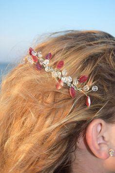 50% OFF! BIG SALE! Bridal hair comb-Beach wedding comb-crystal hair comb-Headpiece-Hairpiece-Hair Accessory-Glass leaves cascade accessories