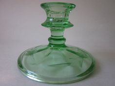 Green Depression Glass Candle Stick Holder by AtomicHostess, $10.00