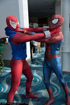 ... Spider & Spider-Man / From: MARVEL Comics 'Spider-Man' / Cosplayers Ultimate Spider Man Peter Parker Costume