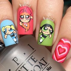 Not actual porn, just nails! 💅🏻💅🏼💅🏽💅🏾💅🏿None of these nails are mine unless stated. Cute Nail Art, Cute Nails, Pretty Nails, Powerpuff Girls Makeup, Tie Dye Nails, Nail Pops, Vintage Nails, Girls Nails, Disney Nails