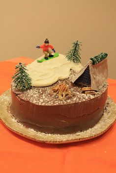 Snowboarder & camping cake
