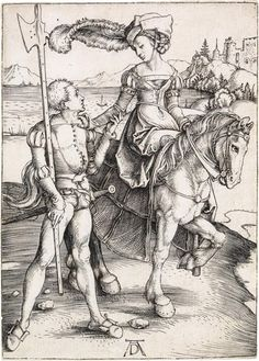 Albrecht Dürer, Lady on Horseback and the Lansquenet