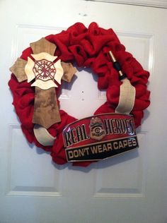 Firefighter Gifts - Firemen Gifts - Firemen Burlap Wreath - Firehouse Gifts - Firehouse Decor - Firemen Decor - Heroes Wreath - Door Decor (89.99 USD) by ElsiesCreativeDesign