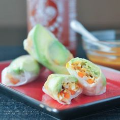 avocado shiitake spring rolls with spicy almond coconut sauce
