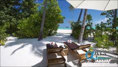 SUNSET BEACH VILLA - GARDEN VIEW OF LAGOON Maldives Luxury Resorts, Beach Villa, Sunset Beach, Outdoor Furniture, Outdoor Decor, Sun Lounger, Ocean, Island, Garden