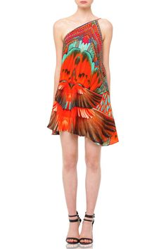77c030787c00 Printed Feather Mini Little Red Dress