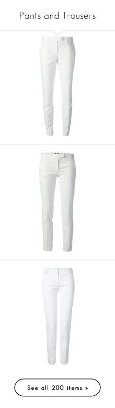 """""""Pants and Trousers"""" by alejaborrayo ❤ liked on Polyvore featuring pants, bottoms, jeans, peg-leg pants, tailored pants, white pants, tailored trousers, tapered leg pants, white and slim trousers"""
