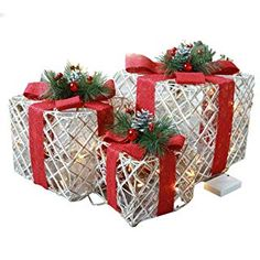 Sinwo Christmas Luminous Gift Box Home Outdoor Decoration Set of 3 Glowing Package Gift (Red) Christmas Boxes Decoration, Christmas Decorations Clearance, Xmas Decorations, Holiday Decor, Christmas Glasses, Christmas Gift Box, All Things Christmas, Christmas Wreaths, Christmas Ornaments