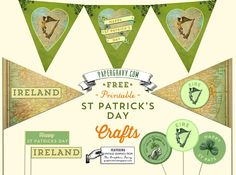 FREE Vintage Printables St. Patrick's Day Flags Buntings Stickers by @Karen Jacot - The Graphics Fairy