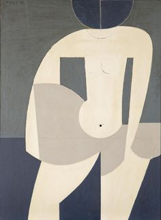 "amare-habeo: "" Yiannis Moralis (Greek, Girl going into the sea, 1974 Oil on canvas, 116 x 85 cm "" Tantra Art, Oil On Canvas, Canvas Prints, Antique Paint, Greek Art, Abstract Shapes, Old Art, Gravure, Types Of Art"