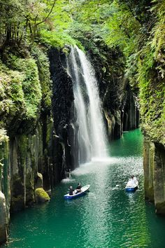 The Takachiho Gorge is a V-shaped gorge, created by the Gokase-gawa River, which eroded the Aso lava. Red-tinted precipitous cliffs rising up on both sides of the gorge extend for a long distance. -   http://hiddenunseen.blogspot.com/2013/04/12-amazing-gorges-around-world.html