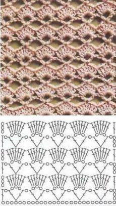Crochet Scarf Diagram, Poncho Au Crochet, Beau Crochet, Crochet Stitches Patterns, Crochet Chart, Crochet Motif, Double Crochet, Free Crochet, Stitch Patterns