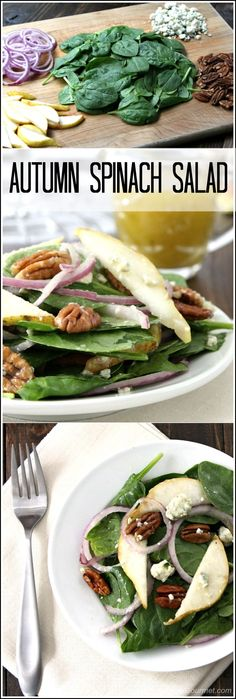 Autumn Spinach Salad, an easy fall side salad or main dish recipe. Perfect healthy side dish for the holidays including Christmas and Thanksgiving! Low carb and gluten free. Delicious sweet and tangy homemade salad dressing.