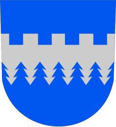 Kajaanin mlk.vaakuna.svg Liitetty Kajaaniin vuonna 1977 Crests, Coat Of Arms, Superhero Logos, Finland, Company Logo, Symbols, Flags, Army, Books