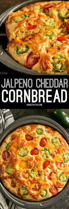 Fresh jalapeño, cheddar cheese, and fresh grape tomatoes are baked right into this Jalapeño Cheddar Cornbread making it just the right amount of extraordinary. Never thought of adding tomatoes. Jiffy mix makes it even quicker! Mexican Food Recipes, New Recipes, Vegan Recipes, Dinner Recipes, Cooking Recipes, Favorite Recipes, Ethnic Recipes, Delicious Recipes, Jalapeno Cheddar Cornbread