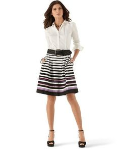 Dresses, Skirts, Knits & More - White House | Black Market... thinking of getting this outfit only a very berry colored blouse to chaperone junior prom this year... I love that the skirt has pockets and is a fit & flare style, so cute!