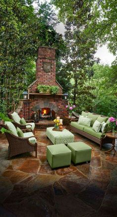 Rustic Outdoor Fireplace Designs Ideas For Your Barbecue Party - Pergola Ideas Rustic Outdoor Fireplaces, Outdoor Fireplace Designs, Backyard Fireplace, Rustic Backyard, Fireplace Ideas, Stone Patio Designs, Backyard Patio Designs, Small Backyard Landscaping, Patio Ideas