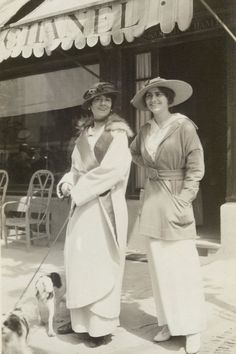Coco & Adrienne in 1913, in front of Coco's first boutique in Deauville