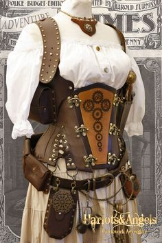 "28"" waist  Steampunk  'Cogs and Gears'  Explorer Corset "" Veggie""' Leather"