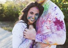 Colorful Fun-Filled Paint War Engagement Session Gray this is so cool! I could see you and Brad doing this! Engagement Session, Engagement Photos, Engagement Ideas, Poses For Photos, Couple Photos, Tie Dye, Take That, War, Colorful