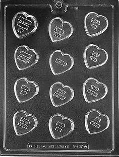 NEW Valentine HEART Hearts Chocolate Candy Fondant Plaster Clay Lollypop Mold