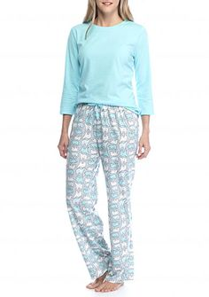 Kim Rogers® 3-Piece Stripe Polar Bear Pajama Set Size Medium