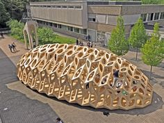 Pop-up Pavilion by BOWOOSS Research Project Biomimicry Architecture, Folding Architecture, Pavilion Architecture, Parametric Design, School Architecture, Architecture Details, Creative Architecture, Organic Structure, Timber Structure