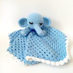 Crochet Baby Blanket Security Snuggle Blanket Crochet Elephant Plush Baby Toy Nursery Decor Photo Props Birthday Baby Shower Gift…