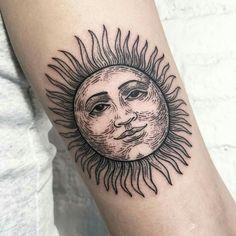 Classy Sun Face Tattoo