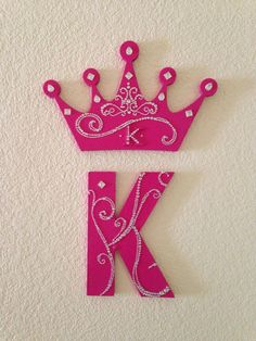 """Blinged monogram letter """"K"""" and princess crown painted pink with white/clear rhinestones Monogram Wallpaper, Alphabet Wallpaper, Name Wallpaper, Funny Iphone Wallpaper, Fancy Letters, Floral Letters, Diy Letters, Painted Letters, Painted Monogram"""