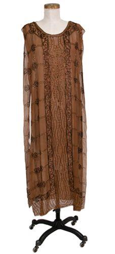 Dress, evening (front half -- woman's) c. 1925 Plain weave; Beaded, machine Silk crepe chiffon; Rhinestones; Beads and beadwork TC 92.20-4, p1