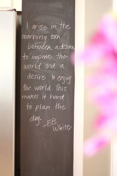 I arise in the morning torn between a desire to improve the world and a desire to enjoy the world. This makes it hard to plan the day. ~EB White