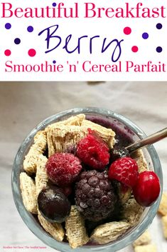 Beautiful Breakfast Berry Smoothie 'n' Cereal Parfait - No Added Sugar, Vegan! #SpoonfulsofGoodness #CerealAnytime #ad