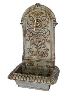 Wall fountain with #basin - garden ornament - #antique #style - iron - green , View more on the LINK: http://www.zeppy.io/product/gb/2/231877270517/