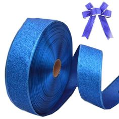 Yonger 79' DIY Silver Serging Ribbon Christmas Trees Decor Supplies Wired Edge Organza Ribbon (Dark Blue) ** Click image for more details.