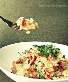 Risotto con bacon y verduritas Risotto, Steamer Recipes, Easy Eat, Rice Cooker, Bacon, Food Porn, Menu, Favorite Recipes, Pasta