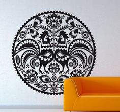 A beautifully detailed wall sticker with a floral design to create a pleasant atmosphere in your home.  This impressive symmetrical design of different floral elements and two hens is ideal for decorating any space to provide it with a bold decorative feature. This decal combines our collection of flower stickers with animals in a creative way. #Floral #Bedroom #Decoration