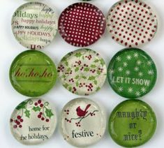 DIY Holiday Magnets ~ Cut the circles out or simply use a circle punch. Adhere a jumbo flat back clear marble on top, a super strong magnet on the back and that's it. Christmas Crafts and Homemade Gifts. Christmas Card Crafts, Printable Christmas Cards, Christmas Projects, Holiday Crafts, Holiday Fun, Christmas Holidays, Xmas, Holiday Photos, Homemade Christmas