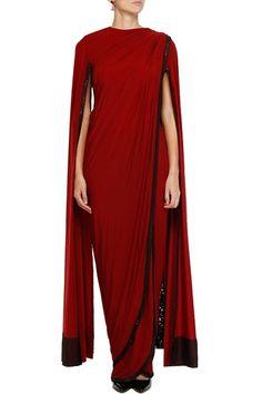 Sarees, Sarees, Clothing, Carma, Red and black sequined draped two piece dhoti saree Dhoti Saree, Drape Sarees, Saree Gown, Drape Gowns, Sari Dress, Anarkali Dress, Indian Attire, Indian Wear, Indian Dresses
