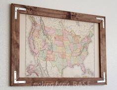 Vintage Map in a DIY Rustic Frame