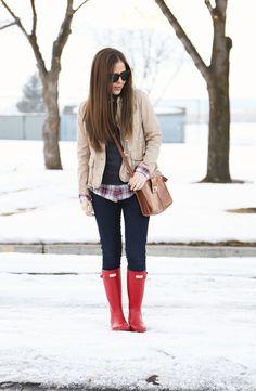 casual layered style.  Plaid, sweatshirt, mandarin jacket, red hunter wellies, crossbody bag.