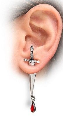 Free shipping Cesare's Veto Gothic Dagger Earring by Alchemy Gothic England silver plated for men and women jewelry  E177