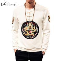 Man Hoodies Vantiorango Plus Size 5XL Casual Dragon Pattern Fleece Sweatshirts Long Sleeve Slim Pullovers O-Neck Hoodie JYY0032